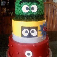 Yo Gabba Gabba   6, 8, 10in vanilla cake done in BC with fondant accents.