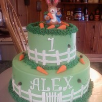 Peter Rabbit Done in Bc with fondant fence carrots and ladybugs. This was such a fun cake to do.