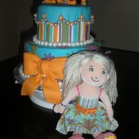 Lucy's Groovy Girl Cake The inspiration for this cake came from the pattern on the Groovy Girl's dress that my daughter gave to her friend as her present....