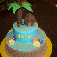 Luau Cake  All buttercream with fondant accents. Tree is a pretzel rod covered in fondant.Leaves are made of fondant and attached to tree with candy...