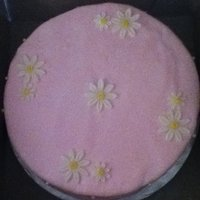 Pink Daisy Choc. cake with Mocha buttercream. MMF and gumpaste daisy,edible pearls.