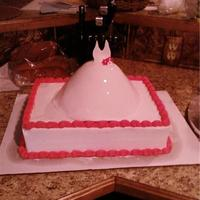 Julie's Bridalshower Cake 13x9x4 with a lg. wonder mold dress on top.
