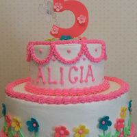 Alicia's Flower Cake   Buttercream with fondant flowers and number 5 for a very sweet little girl