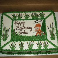 The Hunter Very last minute cake for neighbor (can't say No to him)! Those cake boards are so flimsy that when I picked up the cake to put it i...