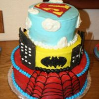 Superhero Cake  did this for my sons bday---he wanted all 3 things...cant take credit for this design though...saw it on here by shelie. mine is all bc...