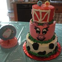 Farm Theme   I did this for my niece who was turning 2. all buttercream with candy clay accents.