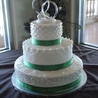 Wedding Cake   WASC cake w/buttercream icing pearl dragees - green satin ribbon