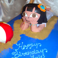"Dora At The Beach I posted about this cake in the How do I forum a few days ago. Very challenging trying to get the right look for her head and to ""prop..."
