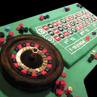 Roulette Wheel And Board This cake was enormous! The cakeboard was 3 feet by 5 feet. The roulette wheel actually spun--I built the cake on a cakeboard with a wooden...