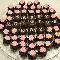 Cake Balls For Mother's Day Chocolate cake balls with fondant lettering and flowers using tappit cutters and petal dust. Great for a last minute idea for Mom!!