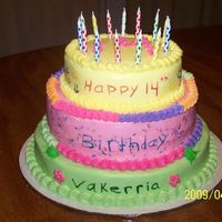 Colorful Birthday Cake This cake was done for a 14 year old girl. She drew the design and I made the cake. It was a fun cake to do.
