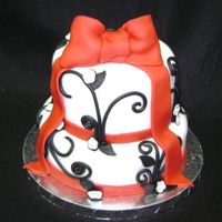 Black, Red Bridal Shower Cake