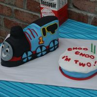 Thomas The Train Cake For my son's 2nd birthday. The wheels needed more black spokes, but I ran out of black fondant and ran out of time to make more. I...