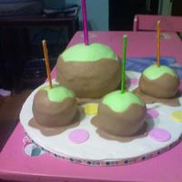Caramel Apples WASC cake, caramel BC, fondant. Used the sports ball pan and min ball pan. Thanks to all of the others on CC that inspired this cake!