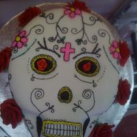 Mexican Sugar Skull/dia De Los Muertos/day Of The Dead WASC and key lime BC. Covered in MFF, BC decor. Cake was for the grand opening of the first tattoo shop in our town. Thanks to preciouspjs...