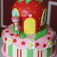 "Strawberry Shortcake The strawberry house was made with three 6"" rounds, carved and iced in buttercream with fondant accents- strawberry cake of course!..."