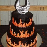 Harley-Davidson For a 50th birthday. Handmade Harley Symbol, 3 tier with hand piped flames.