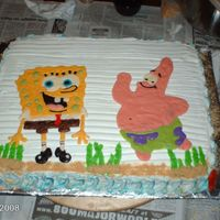 Sponge Bob I made this cake for my nephew's 1st birthbay party. Bob & pat are made of chocolate. It has carmel flavored buttercream and I...
