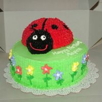"3-D Ladybug Cake Two layers 9"" round cake, using 50% Less Sugar cake mix per customer's request. Ladybug was made using 1 Sportsball pan and..."