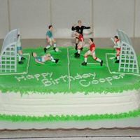 Soccer Cake   Two 9x13 layers of Devil's Food cake, covered in buttercream icing. YUMMY!