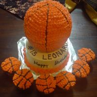 "Basketball Cake And Cupcakes 6"" ball pan on a 7"" cake. Vanilla cake with IMBC."