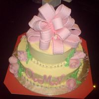 Polka Dot Cheesecake With Creamcheese Buttercream And Mmf Accents First attempt at bows and ribbon roses. A surprise birthday cake for a close family friend's 60+ birthday. She loves pink and green....