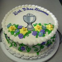 First Communion   Colrflow Chalice, royal icing flowers on buttercream frosting and white cake