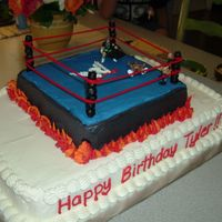 Wwe Wrestling Ring   Buttercream frosting, edible paint covered marshmellow posts and little plastic men