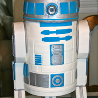 R2D2 Mostly Dummy and support - but the top of the body and the head are all cake. Vanilla cake, with strawberry cream filling. I put the...