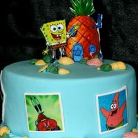 Spongebob Edible images and covered in fondant, chocolate shells TFL