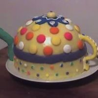 Teapot Cake homemade buttercream fondant (yellow b/c of butter flavor crisco) candy accents gumpaste spout and handle