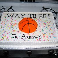 Jr Arrows My first 1/2 sheet cake made for a 5-10 yr. olds who played in a rec league for their banquet.