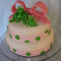 Froggy Birthday Cake I made this cake for a lady that's obsessed with frogs. It's a red velvet cake iced in cream cheese frosting a covered in fondant...