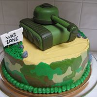 Camo Army Tank Cake I made this cake for a little boy's 7th birthday. He loves Army stuff so I made a camo cake with a tank on top. The 10 in. cake is...