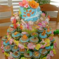 "Hawaiian Cupcake Tower The top 6"" cake is coconut/pineapple filling, all buttercream and gum paste flowers,the cupcakes are pina coladaand the decoration are..."