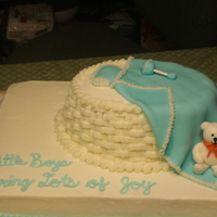 Little Boy Baby Shower Cake This was very cute with the fondant teddy bear, but the bassinet was a disappointment to me. I shaped a piece of fondant to be rounded to...