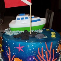 Scuba Cake Take 1 The first attempt at a scuba cake. All finished and was putting it in the box and it slide to the side and smashed all on one side. had to...