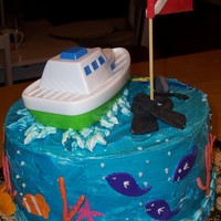 Scuba Cake Take 2 Scuba cake I did and the first one I had an accident and slipped putting it in the box.
