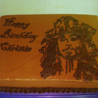 Jack Sparrow Birthday This was tough theme. There was no way for me to draw a realistic Jack Sparrow on a cake, so I found a pumpkin stencil of his silhouette...