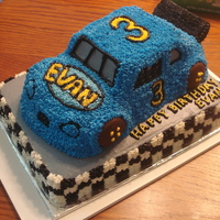 Race Car Birthday Cake I used the 3-D bug car pan and added a spoiler and voila, stock car.
