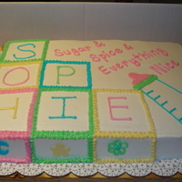 Sugar And Spice Shower Cake Half sheet cake decorated with buttercream