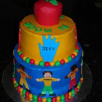 Kindergarden Graduation Cake Kindergarden Graduation Cake for my son Mason. Buttercream with fondant accents. Apple is large cupcake covered in fondant. The kids in his...