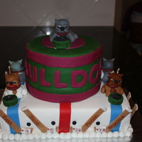 Bulldog's Hockey Cake I made for my son's hockey windup party. The kids are 5 and 6 year olds. Their names are on the hockey sticks and the coaches are...