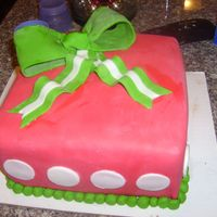 Red And Green   this was a cake for a Christmas wedding shower.