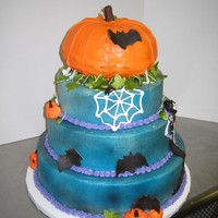 Spooky 30Th Birthday BC with fondant accents. Witch is from the invite. One of my favorite cakes ever. BC is airbrushed