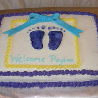 Baby Shower 1/4 Sheet Inspiration came from CC member. Fondant feet (painted w/ icing color & lemon extract) and bow.