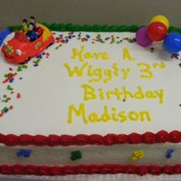 Wiggles Birthday Cake Van. cake with b/c icing, filled. Wiggles cake topper set provided by customer. Thanks to fellow CC'er for the wording!