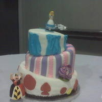 Mad Hatter Cake Alice In Wonderland themed 6th birthday party. First topys turvy cake. Felt like it came out pretty good except for the bottom layer, kinda...