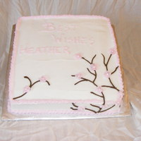 "Cherry Blossom Baby Shower Cake 10"" square. Cherry blossom theme. LOVED this cake!"