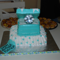 Tiffany Box A cake I did for a friend's b-day. All is fondant. The box top gave me a hard time. But she liked it. TFL
